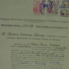 Documentos antiguos: MAESTRA NACIONAL 1954 UNCASTILLO, ZARAGOZA DOCUMENTO AUMENTO DE SUELDO SELLO M. ENSEÑANZA PRIMARIA. Lote 23116236