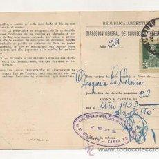 Documentos antiguos: DIRECCIÓN GENERAL DE CORREOS Y TELEGRAFOS ARGENTINA. CARNET DE ABONO A CASILLA. 1933. SANTA FE. . Lote 23377485