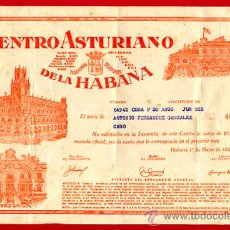 Documentos antiguos: RECIBO DEL CENTRO ASTURIANO DE LA HABANA, CUBA , 1929 , ORIGINAL,18 X 28 CMS. ORIGINAL D12. Lote 23440806