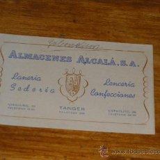 Documentos antiguos: TARJETA COMERCIAL ALMACENES ALCALA SA, LENCERIA SEDERIA CONFECCIONES. TANGER 1954.. Lote 23501515