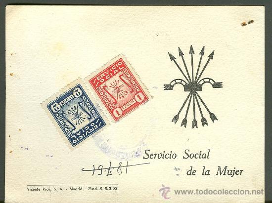 FALANGE ESPAÑOLA. CERTIFICADO SERVICIO SOCIAL DE LA MUJER / FALANGE ESPAÑOLA MALAGA 1951 (Coleccionismo - Documentos - Otros documentos)