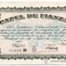 Documentos antiguos: 1959 PAPEL DE FIANZAS 100 PESETAS. INSTITUTO NACIONAL DE LA VIVIENDA. Lote 23638614