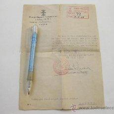 Documentos antiguos: CARTA DE CESE DEL DISTRITO DE VALLECAS DEL INSPECTOR DE BARRIOS DE FALANGE - MADRID 1959. Lote 23859809
