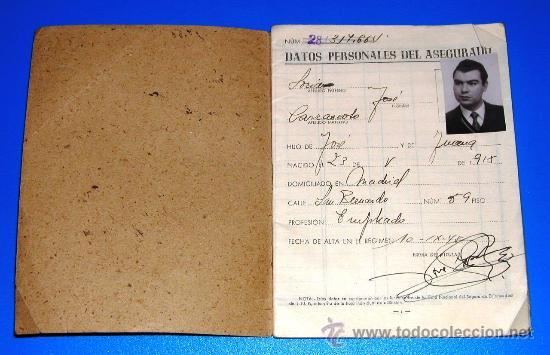 Documentos antiguos: Cartilla de Identidad - Caja Nacional - Seguro de Enfermedad - Instituto Nacional de Prevision 1945 - Foto 2 - 24207883