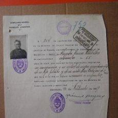 Documentos antiguos: DOCUMENTO DE INMIGRACION ARGENTINA ESPAÑA 1029. ANGELA TORRES CENTELLAS, JOSE CEBRIAN. FOTOGRAFIA. Lote 26122220