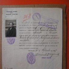 Documentos antiguos: DOCUMENTO DE INMIGRACION ARGENTINA ESPAÑA 1929. LUISA GARCIA DE APARICIO. CON FOTOGRAFIA. Lote 27376253