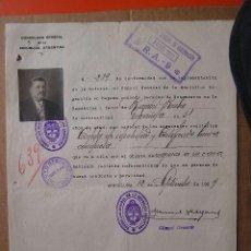 Documentos antiguos: DOCUMENTO DE INMIGRACION ARGENTINA ESPAÑA 1929. RAMON RUBIO. CON FOTOGRAFIA. Lote 26122236