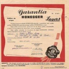 Documentos antiguos: GARANTÍA INCUBADOR HONEGGER - AÑO 1965. Lote 24681776