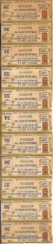 AÑO 1929 / DEUDA DE LA DIPUTACIÓN PROVINCIAL DE BARCELONA. OBLIGACIÓN Nª002209 - CUPÓN Nº29 A Nº39 (Coleccionismo - Documentos - Otros documentos)