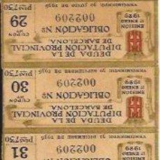 Documentos antiguos: AÑO 1929 / DEUDA DE LA DIPUTACIÓN PROVINCIAL DE BARCELONA. OBLIGACIÓN Nª002209 - CUPÓN Nº29 A Nº39. Lote 26546073