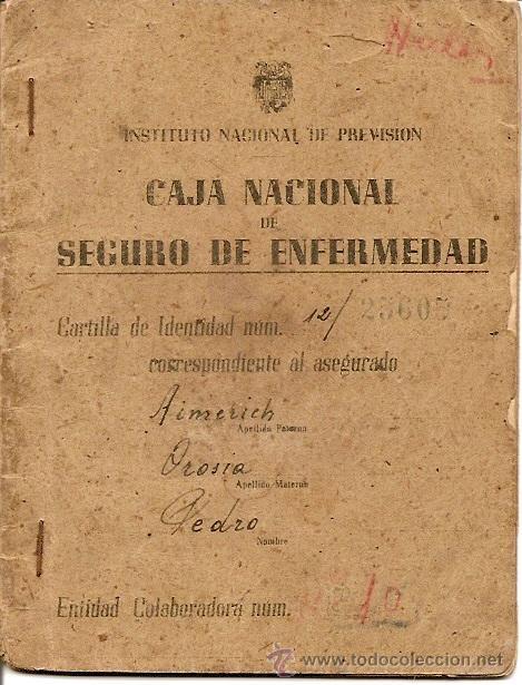CARTILLA CAJA NACIONAL DE SEGURO DE ENFERMEDAD AÑO 1944 (Coleccionismo - Documentos - Otros documentos)