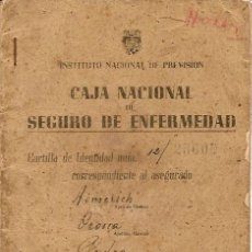 Documentos antiguos: CARTILLA CAJA NACIONAL DE SEGURO DE ENFERMEDAD AÑO 1944. Lote 24800000
