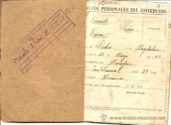 Documentos antiguos: CARTILLA CAJA NACIONAL DE SEGURO DE ENFERMEDAD AÑO 1944 - Foto 2 - 24800000