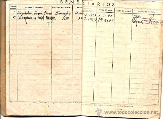 Documentos antiguos: CARTILLA CAJA NACIONAL DE SEGURO DE ENFERMEDAD AÑO 1944 - Foto 3 - 24800000