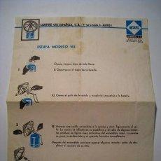Documentos antiguos: CAMPING GAS ESPAÑOLA - INSTRUCCIONES USO ESTUFA MODELO 183. Lote 24821657