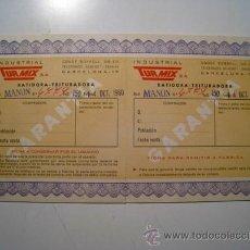 Documentos antiguos: BATIDORA TURMIX MOD. MANON - TARJETA DE GARANTIA 1960. Lote 24821699