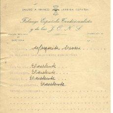 Documentos antiguos: TL29-35 FALANGE ESPAÑOLA TRADICIONALISTA Y DE LAS J.O.N.S. - JEFATURA PROVINCIAL DE BARCELONA - FIR. Lote 25006509