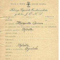 Documentos antiguos: L29-35 FALANGE ESPAÑOLA TRADICIONALISTA Y DE LAS J.O.N.S. - JEFATURA PROVINCIAL DE BARCELONA. Lote 26624834