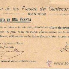 Documents Anciens: DOCUMENTO JUNTA DE AGUAS POTABLES DE MANRESA 1808. Lote 25022112