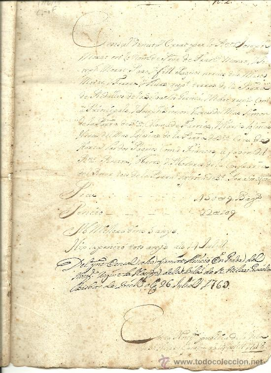 Documentos antiguos: L15-17 Sello Fiscal Segundo de FERNANDO VI de ciento treinta y seis maravedis, en documento de 10 ho - Foto 3 - 25032519
