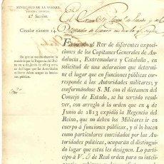 Documentos antiguos: MINISTERIO DE LA GUERRA 1821 .. ENTERADO EL REY DE DE DIFERENTES ..ANDALUCÍA, EXTREMADURA Y CATALUÑA. Lote 25285062