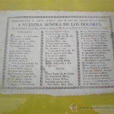 Documentos antiguos: CANCION Nª-Sª- DE LOS DOLORES 1805. Lote 53024273