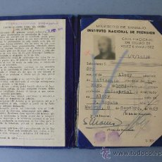 Documentos antiguos: CARTILLA INSTITUTO NACIONAL PREVISIÓN 1949, CAJA NACIONAL SEGURO VEJEZ INVALIDEZ. FOTO INTEGRADA. Lote 26186432
