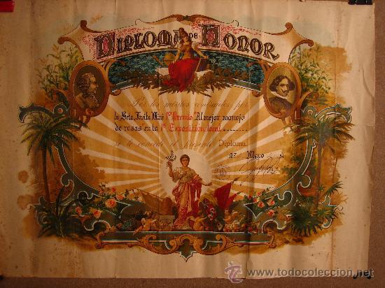 DIPLOMA DE HONOR AL PRIMER RAMO DE ROSAS. 1º CERTAMEN 1954. LA BISBAL DEL PENEDES. PANADES (Coleccionismo - Documentos - Otros documentos)