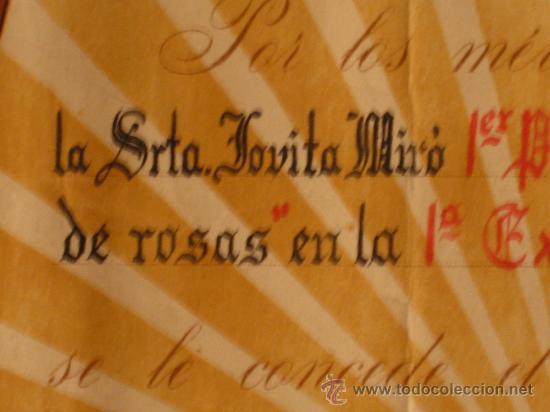 Documentos antiguos: DIPLOMA DE HONOR AL PRIMER RAMO DE ROSAS. 1º CERTAMEN 1954. LA BISBAL DEL PENEDES. PANADES - Foto 3 - 26406451