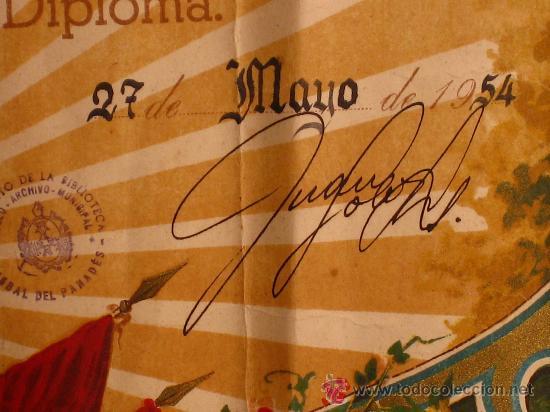 Documentos antiguos: DIPLOMA DE HONOR AL PRIMER RAMO DE ROSAS. 1º CERTAMEN 1954. LA BISBAL DEL PENEDES. PANADES - Foto 2 - 26406451