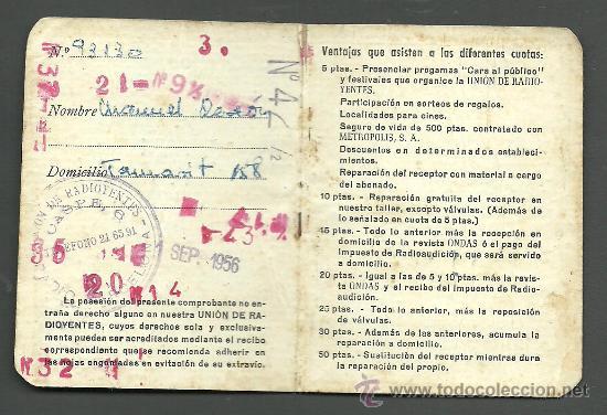 Documentos antiguos: 0020 Carnet de la UNIO DE RADIOYENTES DE RADIO BARCELONA - Año 1956 - Foto 2 - 26755129