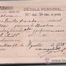 Documentos antiguos: CÉDULA PERSONAL. HUELVA 1898, AL DROSO: TAMPÓN DE LA ALCADÍA DE BOLLULLOS DEL CONDADO Y RECARGO. Lote 27239987