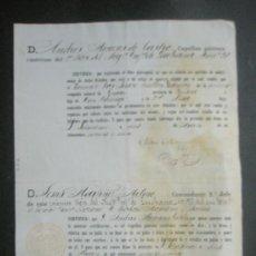 Documentos antiguos: HUESCA GRAUS CERTIFICADO DE SOLTERIA DEL TENIENTE DEL REGIMIENTO DE INFª DE LUCHANA J.BULLON GAMBON . Lote 27212588
