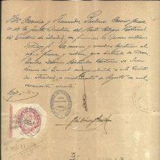 Documentos antiguos: L7-23 SELLO NOTARIAL DE MADRID Y TIMBRE FISCAL 8ª CLASE CORONA REAL ESCUDO BLANCO DOBLE FOLIO 1 PES. Lote 27349408