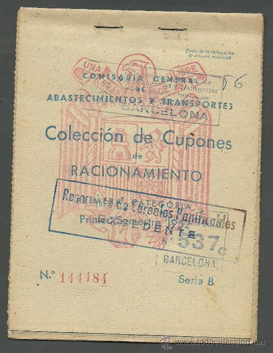 CX-8 CARTILLA DE RACIONAMIENTO DE PRIMERA CATEGORIA DE LA COMISARIA GENERAL ABASTECIMIENTOS Y TRA (Coleccionismo - Documentos - Otros documentos)