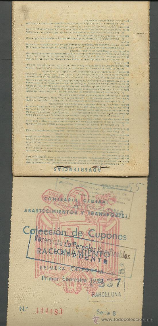 Documentos antiguos: CX-8 CARTILLA DE RACIONAMIENTO de Primera categoria DE LA COMISARIA GENERAL ABASTECIMIENTOS Y TRA - Foto 2 - 27381867