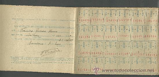 Documentos antiguos: CX-8 CARTILLA DE RACIONAMIENTO de Primera categoria DE LA COMISARIA GENERAL ABASTECIMIENTOS Y TRA - Foto 2 - 27382206