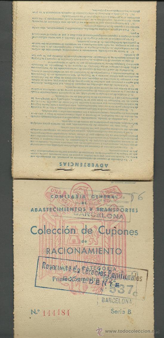 Documentos antiguos: CX-8 CARTILLA DE RACIONAMIENTO de Primera categoria DE LA COMISARIA GENERAL ABASTECIMIENTOS Y TRA - Foto 3 - 27382206