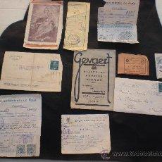Documentos antiguos: LOTE DE ANTIGUOS PAPELES RECIBOS ETC AÑOS 50. Lote 28783845
