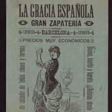 Documentos antiguos: BARCELONA * SIGLO XIX * FOLLETO PUBLICIDAD ZAPATERIA LA GRACIA ESPAÑOLA * . Lote 27846199