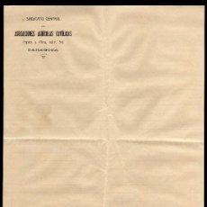 Documentos antiguos: HOJA MEMBRETE DEL SINDICATO CENTRAL DE ASOCIACIONES AGRICOLAS CATOLICAS - ZARAGOZA . Lote 27970742