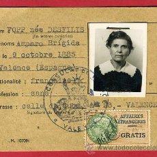 Documentos antiguos: CARNET ESPAÑOLA PARA FRANCIA, CONSULADO , 1953 , ORIGINAL. Lote 27979384