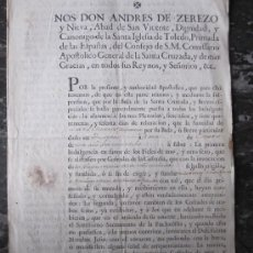 Documentos antiguos: DOCUMENTO O EDICTO SOBRE INDULGENCIAS 1760 .- SELLO DE PLACA, ,FOLIO 2HOJAS. Lote 28110607