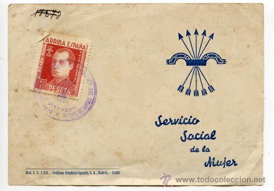 CERTIFICADO DE CUMPLIMIENTO DEL SERVICIO SOCIAL SECCIÓN FEMENINA DE FALANGE SANTANDER 1943 (Coleccionismo - Documentos - Otros documentos)