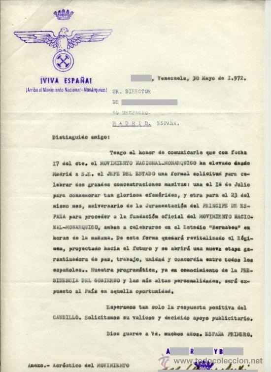 Documentos antiguos: El Movimiento Nacional-Monárquico propone dos concentraciones en estadio Bernabeu -- 3 docs. de 1972 - Foto 2 - 28473604