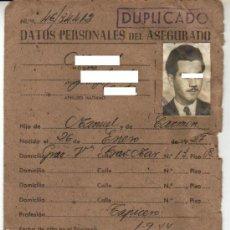 Documentos antiguos: 1944. CARTILLA DE IDENTIDAD CAJA NACIONAL DE SEGURO DE ENFERMEDAD. Lote 28675013