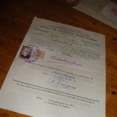 Documentos antiguos: ESCUELA DE MAGISTERIO PADRE POVEDA, PAPELETA DE EXAMEN. TIMBRES, JAEN GRANADA 1962.. Lote 28716216