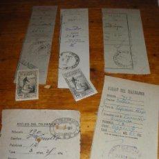 Documentos antiguos: 5 RECIBOS DIFERENTES DE TELEGRAMAS.. Lote 28717144