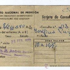 Documentos antiguos: TARJETA / CARNET DE CONSULTA INSTITUTO NACIONAL DE PREVISION - TRAUMATOLOGIA - . Lote 28821003