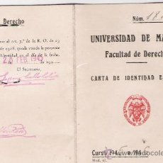 Documentos antiguos: CARTA DE IDENTIDAD ESCOLAR - FACULTAD DE DERECHO - UNIVERSIDAD DE MADRID - CURSO DE 1945. Lote 28947539
